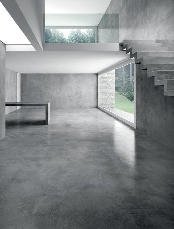 Exemple d'intérieur de maison moderne et contemporain avec un sol en béton lissé